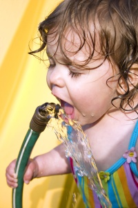 a toddler drinking water from a garden hose