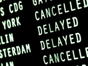 generic airport delayed sign