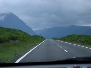 Road through the Scottish highlands