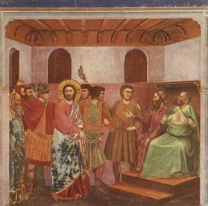 Giotto_-_Scrovegni_-_-32-_-_Christ_before_Caiaphas