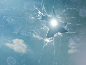 Sky Clouds Broken Sun Glass Shattered Transparent